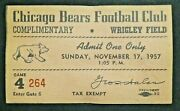 1957 Chicago Bears Vs Baltimore Colts Football Ticket