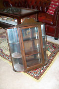 Antique Decorative Wood And Curved Glass Wall Curio Display Case Cabinet