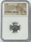 Lydia Croesus 561-546 Bc 1/2 Stater Ngc Chvf Lion And Bull First Pure Silver Coin