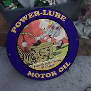 Vintage Power-lube Motor Oil And039and039elvira Cootand039and039 Porcelain Gas And Oil Pump Sign
