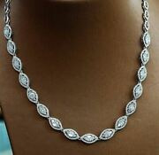 16ct White Marquise Moissanite Halo Wedding Chain Necklaces 925 Sterling Silver