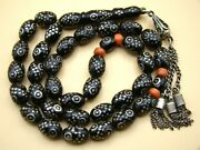 Old Real Antique Rare Black Coral Yusr Subha Necklace Rosary Prayer Beads 36 Gr