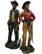 Wild Western Cowboy Cowgirl Figurine Statue Collectible Southern