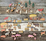 1920s1930s Wood Toys Farming Collection Cow Sheep Pig Chicken Horse Etcetera