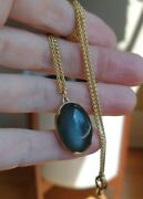 Gabriella Kiss 18k Yellow Gold And Dark Moonstone Pendant Necklace Gorgeous