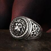 925 Sterling Silver Lion Biker Rings For Men's Punk Party Jewelry Gift