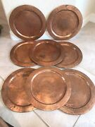 Vintage Ruiz Hnos Mexico Hammered Copper Charger Plates, Rolled Edges Set Of 8