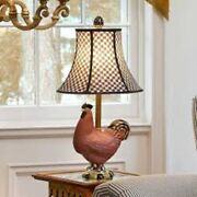 Farmhouse Mackenzie Childs Rooster Chicken Lamp Courtly Checkered Check Shade