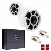 Wet Sounds Rev8w-fmini 8 White Towers Stainless Fixed Mini Clamps Syn-dx2 Amp