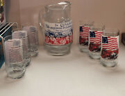 Vtg Heritage Collector Series/ Coca Cola/ Bicentennial/ Pitcher And 6 Glasses