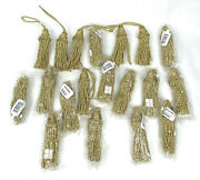 Lot Of 19 Gold Nylon Christmas Ornament Tassels 8 Decorations Glittery Looking