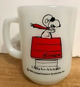 Vintage Fire King Anchor Hocking Snoopy Mug Curse You Red Baron Mint Red