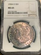 1904-o Morgan Silver Dollar Ngc Ms-65 Spectacularly Toned Investment Grade