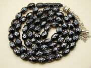 Old Real Antique Rare Black Coral Yusr Subha Necklace Rosary Prayer Beads 92 Gr