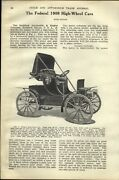 1909 Paper Ad 6 Pg Article Federal High Wheel Car Auto Automobile Brass