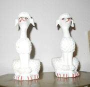 Vintage Collectible 2 Piece Cute White French Poodle Lipstick Holder Set Htf