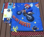 Super Mario Reversible Twin Bedding Set Comforter Flat Fitted And Pillowcase 4 Pc