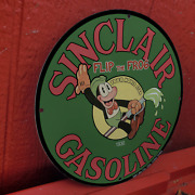 Vintage 1930 Sinclair Gasoline And039and039flip The Frogand039and039 Porcelain Gas And Oil Pump Sign
