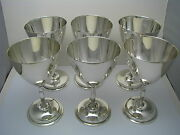 Mid-century Modern 6 Sterling Silver Goblets Juventino Lopez Reyes Mexico C1960s