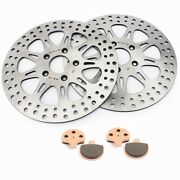Od 11.5 Id 2 Front Brake Rotors Pads For 86-99 Electra Glide And 94-99 Road King