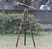 Nautical Marine Royal Sailor Boat Antique Telescope Black Leather Wooden Stand