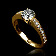 1 Carat Genuine Solitaire With Accents Diamond 18k Yellow Gold Proposal Ring New