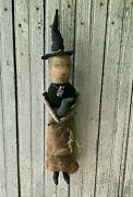 Primitive 18 Witch Doll Beulah And Her Crow Hand Stitched Halloween Spooky