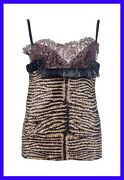 Dolce And Gabbana Animal Print Silk And Lace Top Size 40 - 4