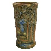 Weller Pottery Forest 1920s Scenic Trees Stream Umbrella Stand