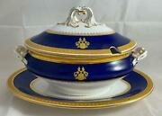 Rare Royal Worcester Cobalt Blue And Gold Gravy / Sauce Boat With Lid And Underplate