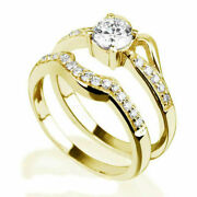 Genuine 1.1 Ct Solitaire Round Accents 18k Yellow Gold Betrothal Ladies Ring Set