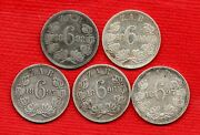 5 X South Africa Kruger Sixpence Silver Coins Dated 1892 - 1897. Job Lot.