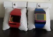 Lot Of 2 Diesel Watches Silicone Strap Blackdial Alarm Digital For Parts/ Repai