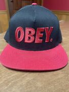 Obey Spell Out Red And Black Snapback Hat