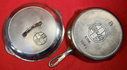 Griswold Slant Logo Cast Iron Size 8 Skillet Flat And Button Logo Cover