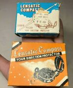 Lot Of 2 Vintage Engineer Lensatic Compass W/ Box And Papers Japan