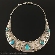 Fred Thompson - Native American Navajo Sterling Silver Turquoise Choker Necklace