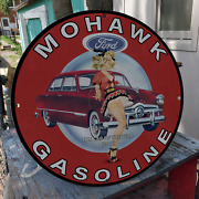 Vintage 1948 Mohawk Gasoline ''ford Car Of The Year'' Porcelain Gas And Oil Sign