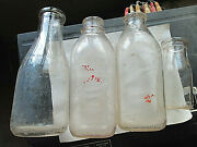 Lot Of Milk Bottles 3 Qtand039s And 1/2 Pt Cloverleaf Bordenand039s Dairylea And Crowley