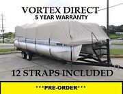 New Vortex Combo Pack Beige 24 Ultra Pontoon/deck Boat Cover+dual Support System