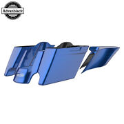 Superior Blue Stretched Extend Saddlebags With Blue Pinstripes For 14+ Harley