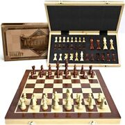 15 Wooden Chess Set Magnetic Universal Standard Board Game For All Ages   Well
