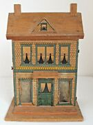Antique Bliss Paper Litho And Wood Doll House 2 Story Original Lace Curtains