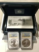 2013 American Eagle West Point 2 Coin Silver Set -pf70 And Sp70 First Releases