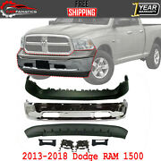 Front Bumper Chrome + Upper And Lower Cover + Bracket For 2013-2018 Dodge Ram 1500