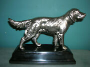 Antique Irish Setter Hunting Dog Canine Statue Jennings Bros, Silver Plate, 1930