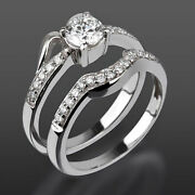 Diamond Matching Band Set Ring 1.39 Ct 18 Kt White Gold Solitaire + Side Stones