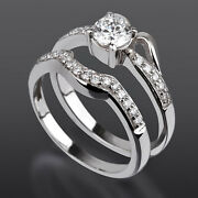 Solitaire And Accents Diamond Band Set Ring 18k White Gold Real Vvs1 Women 1 Ct