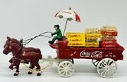 Vintage Coca Cola Cast Iron Horse Drawn Wagon With Driver And Cases Of Coke Rare