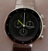 Movado Edge Mens Watch With 42mm Chronograph Black Face Stainless Steel Band.